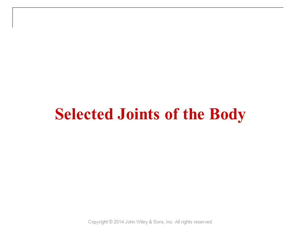 Selected Joints of the Body