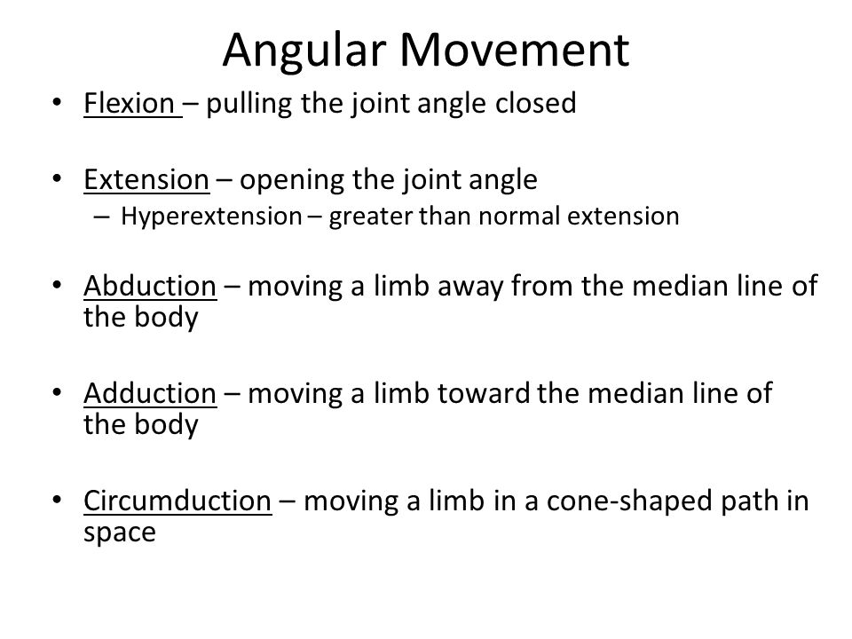 Angular Movement Flexion – pulling the joint angle closed