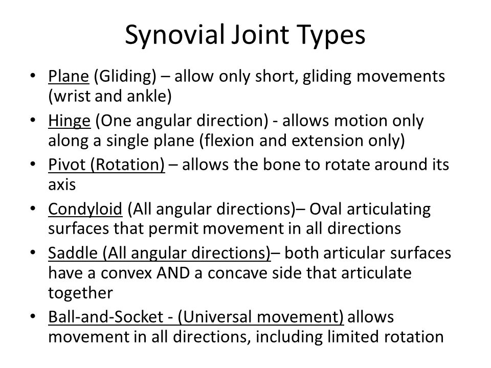 Synovial Joint Types Plane (Gliding) – allow only short, gliding movements (wrist and ankle)