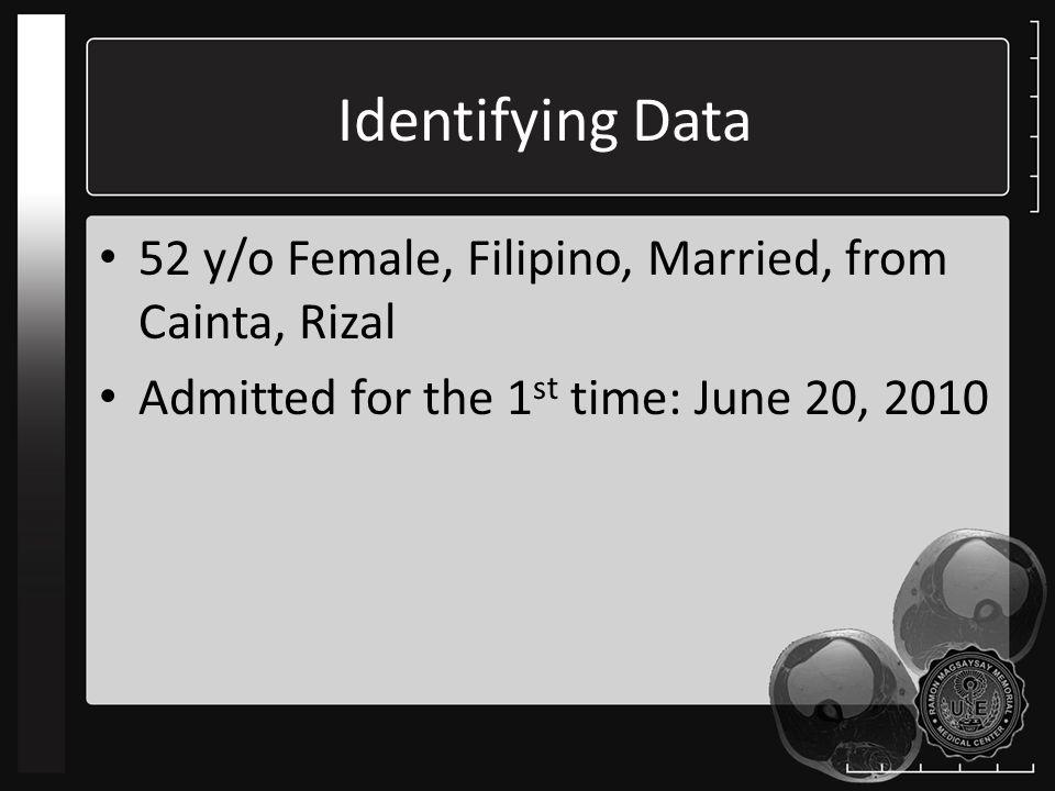 Identifying Data 52 y/o Female, Filipino, Married, from Cainta, Rizal