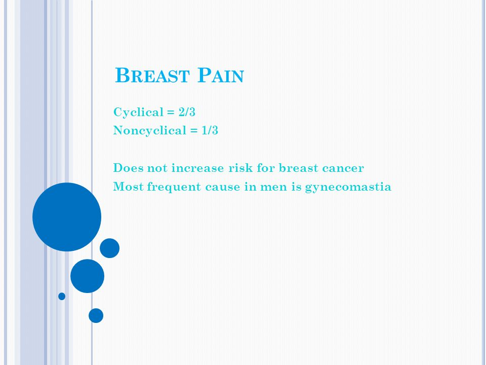 Breast Pain Cyclical = 2/3 Noncyclical = 1/3
