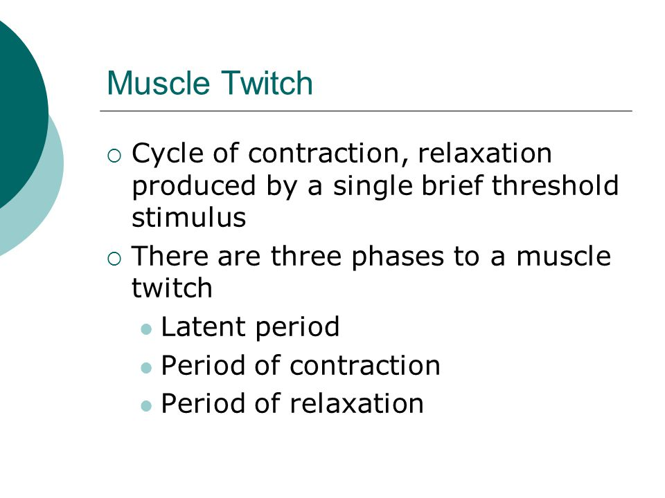 Muscle Twitch Cycle of contraction, relaxation produced by a single brief threshold stimulus. There are three phases to a muscle twitch.