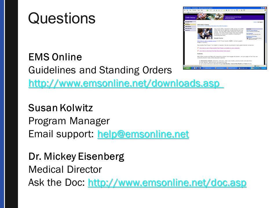 Questions EMS Online Guidelines and Standing Orders