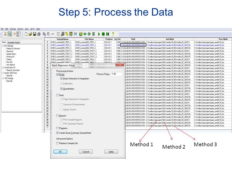 Step 5: Process the Data Method 1 Method 2 Method 3