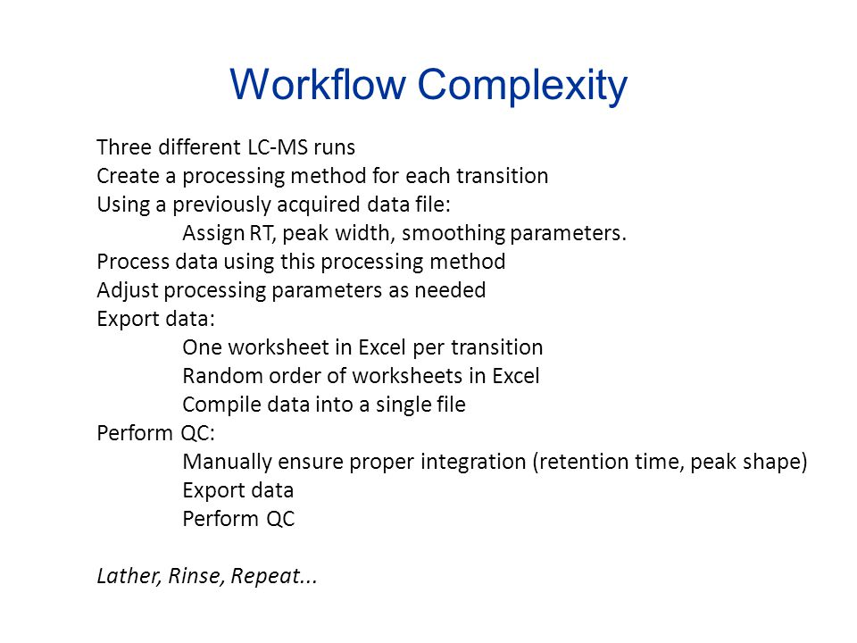 Workflow Complexity Three different LC-MS runs