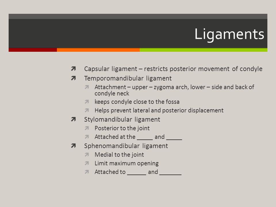 Ligaments Capsular ligament – restricts posterior movement of condyle