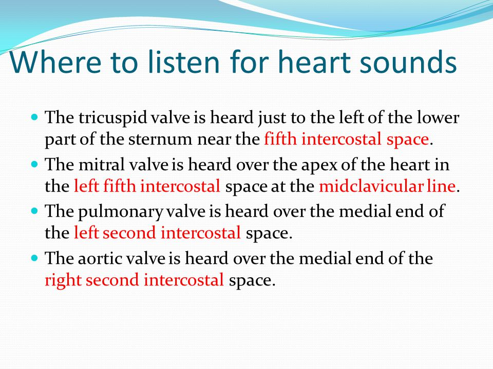 Where to listen for heart sounds