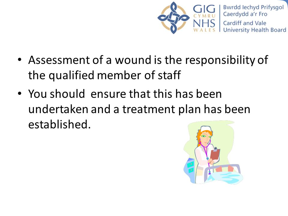 Assessment of a wound is the responsibility of the qualified member of staff