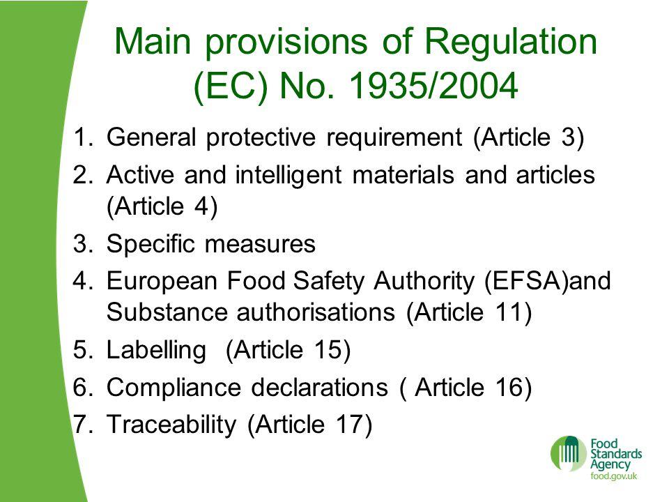 Main provisions of Regulation (EC) No. 1935/2004