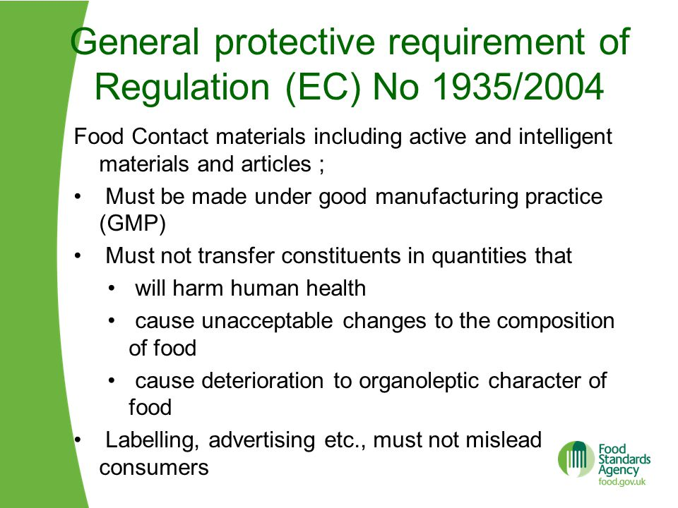 General protective requirement of Regulation (EC) No 1935/2004