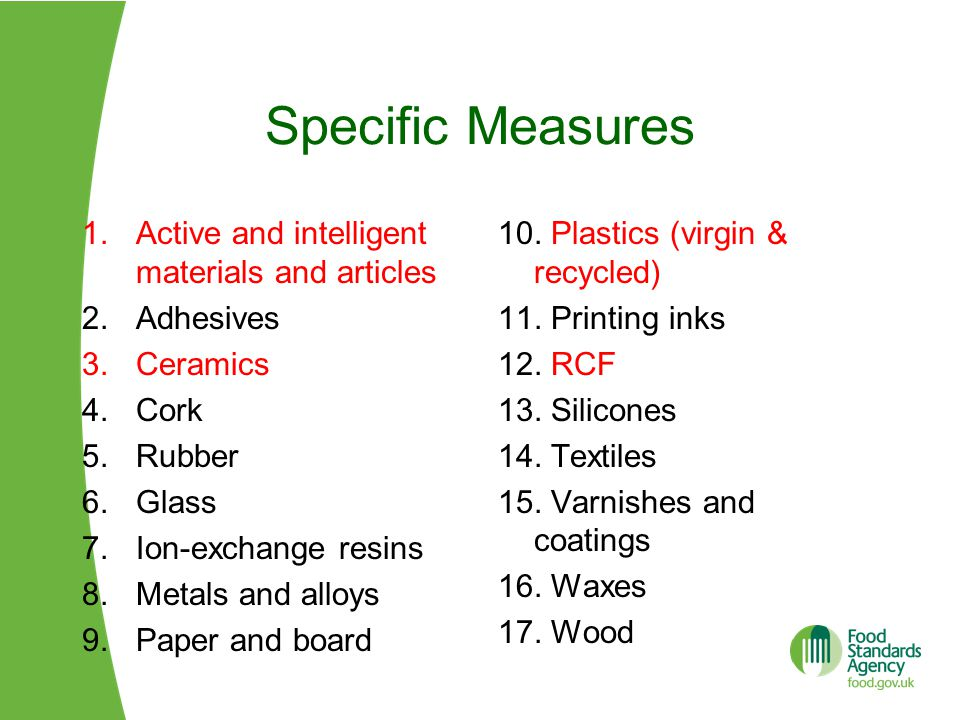 Specific Measures Active and intelligent materials and articles