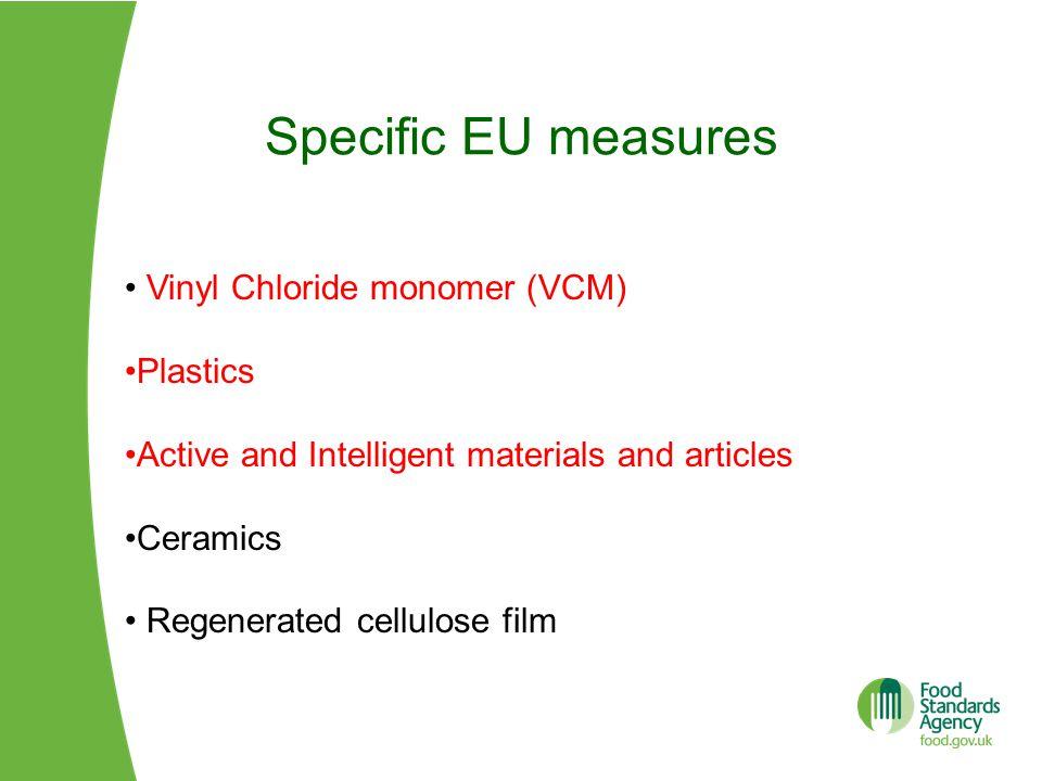 Specific EU measures Vinyl Chloride monomer (VCM) Plastics