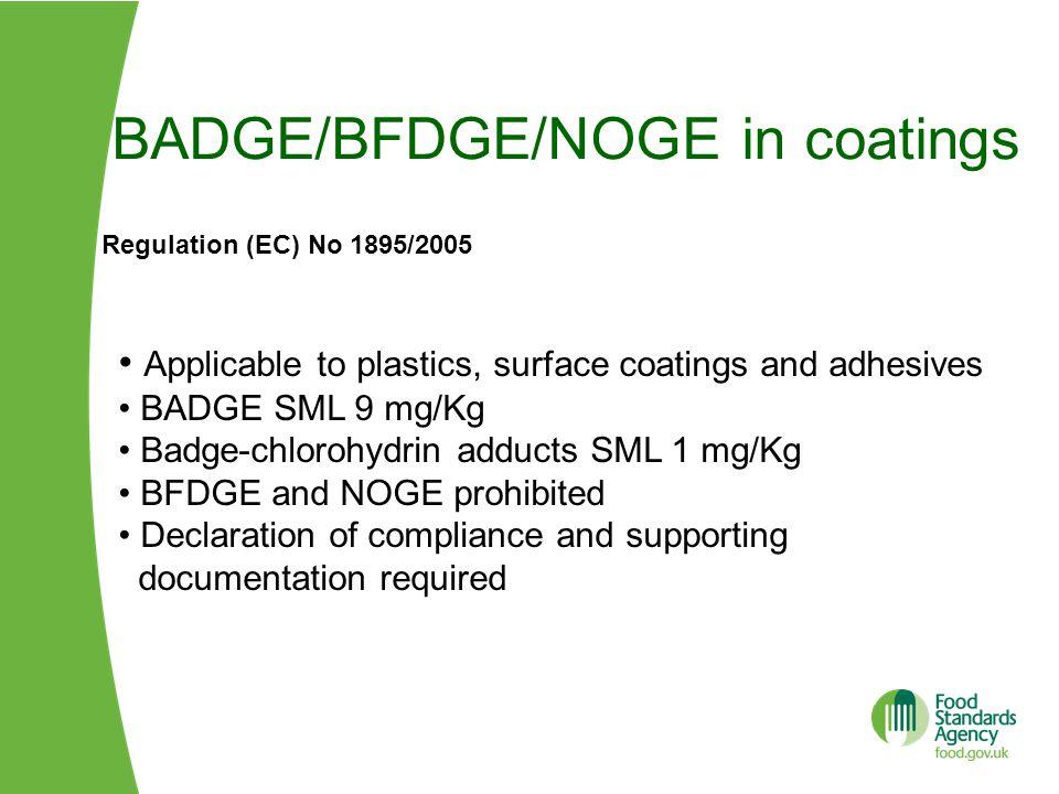 BADGE/BFDGE/NOGE in coatings