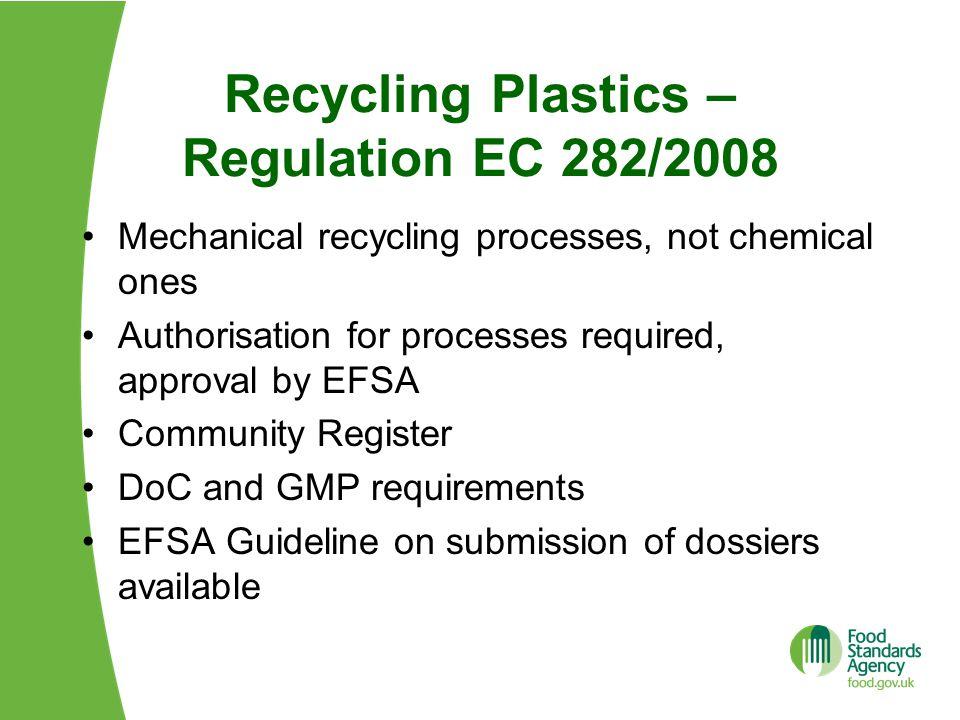 Recycling Plastics – Regulation EC 282/2008
