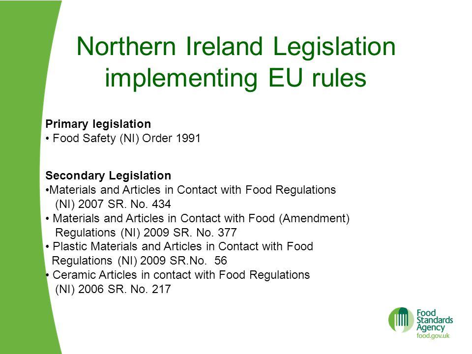 Northern Ireland Legislation implementing EU rules