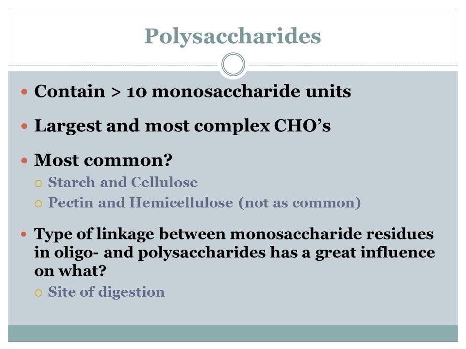 Polysaccharides Contain > 10 monosaccharide units
