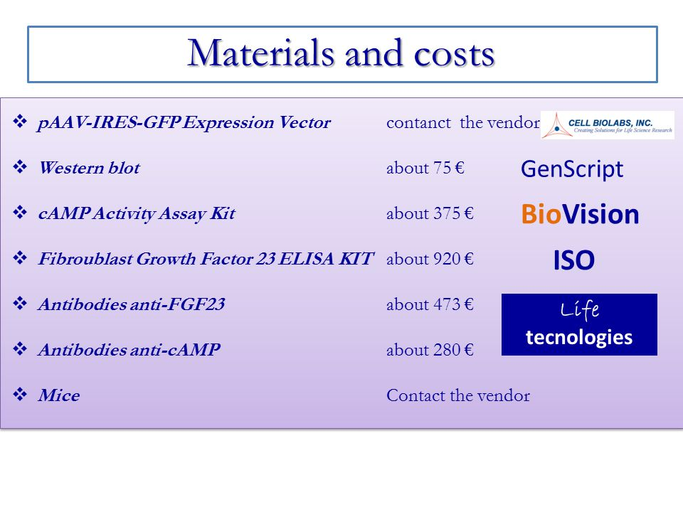 Materials and costs BioVision ISO GenScript Life tecnologies