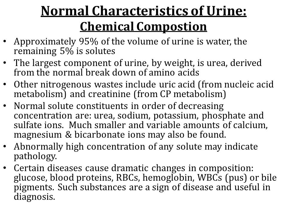 Normal Characteristics of Urine: Chemical Compostion