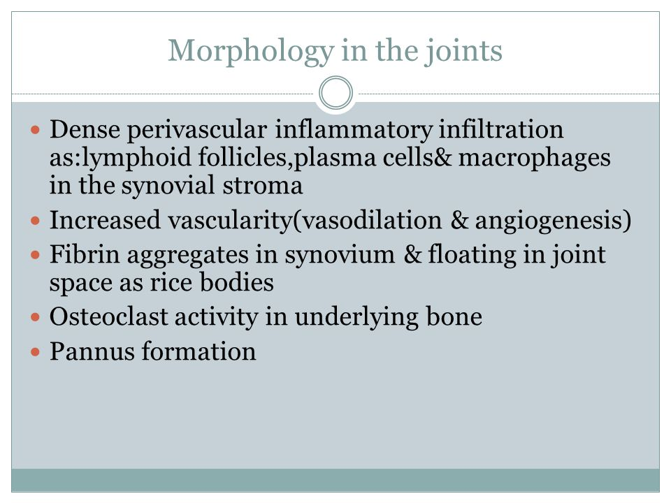 Morphology in the joints