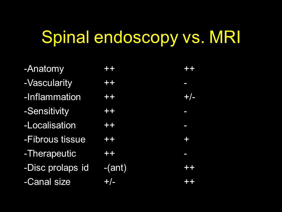 Spinal endoscopy vs. MRI