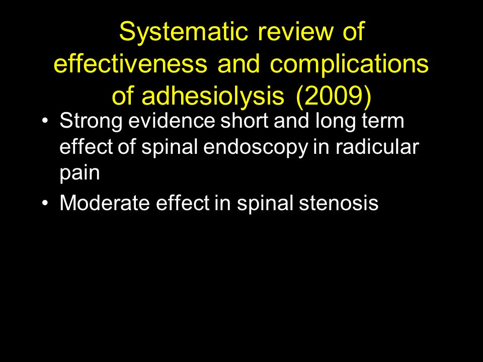 Systematic review of effectiveness and complications of adhesiolysis (2009)