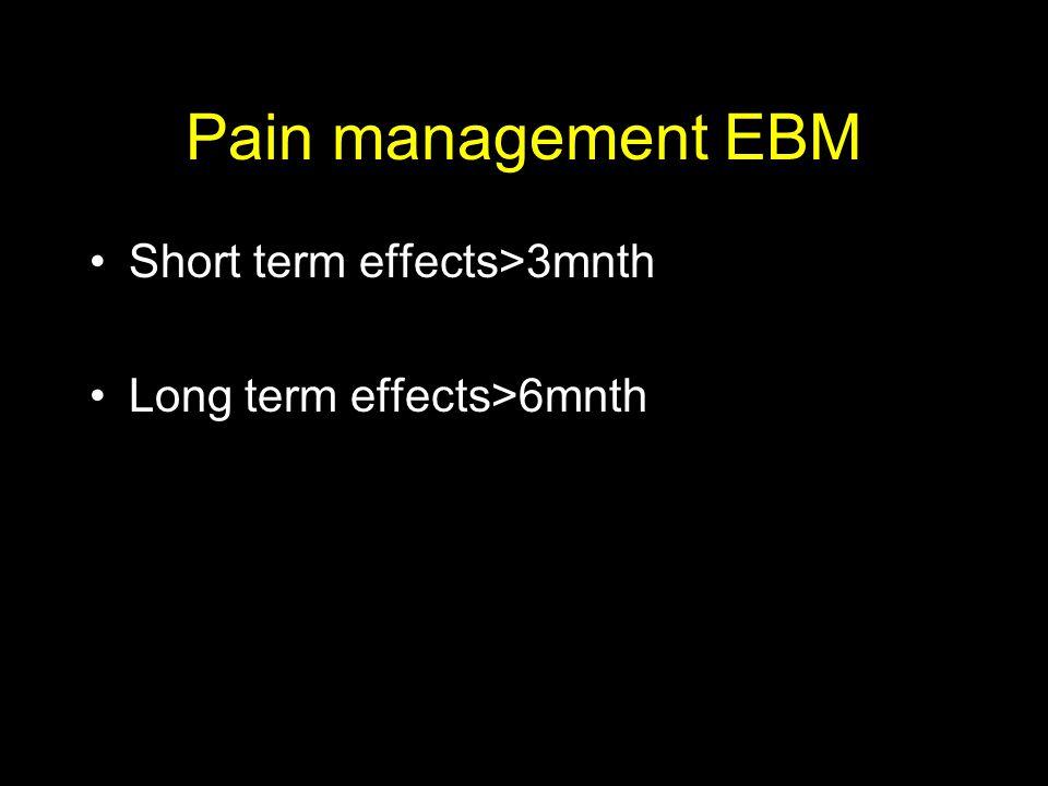 Pain management EBM Short term effects>3mnth
