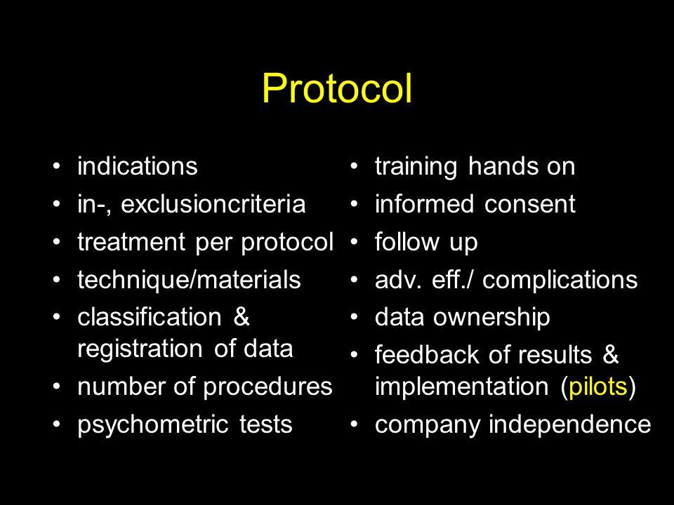 Protocol indications in-, exclusioncriteria treatment per protocol