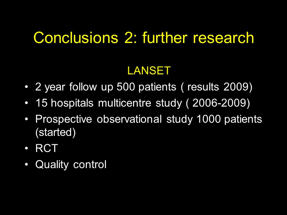 Conclusions 2: further research