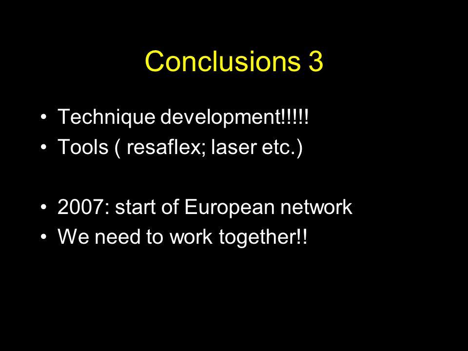 Conclusions 3 Technique development!!!!! Tools ( resaflex; laser etc.)