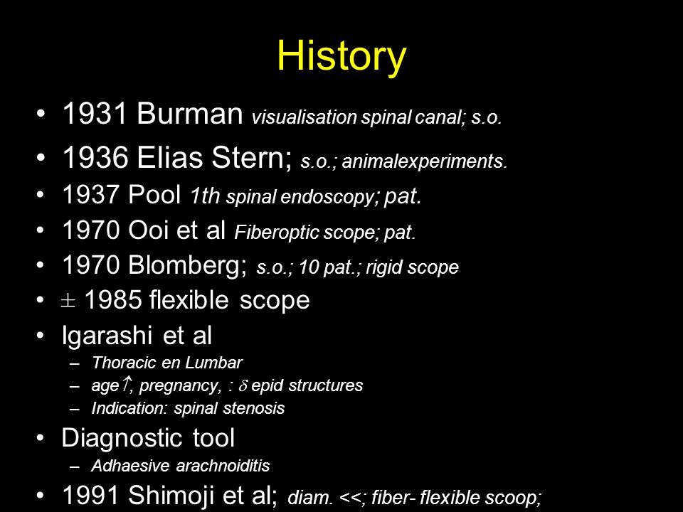 History 1931 Burman visualisation spinal canal; s.o.