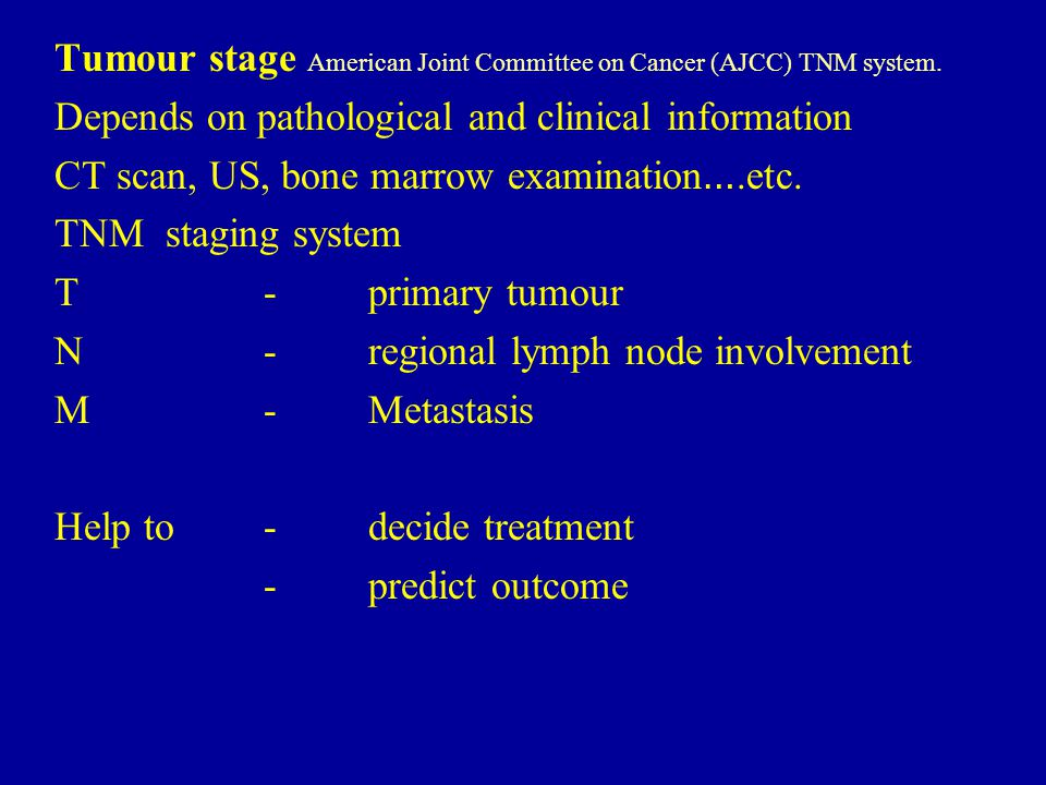 Tumour stage American Joint Committee on Cancer (AJCC) TNM system.