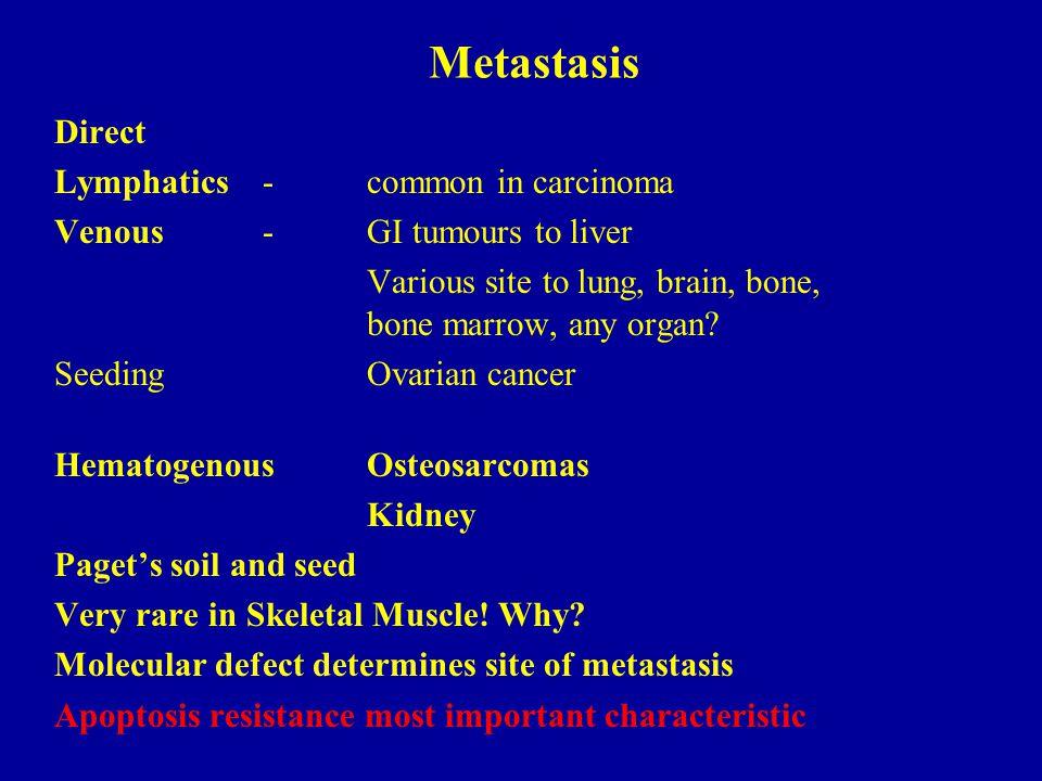 Metastasis Direct Lymphatics - common in carcinoma