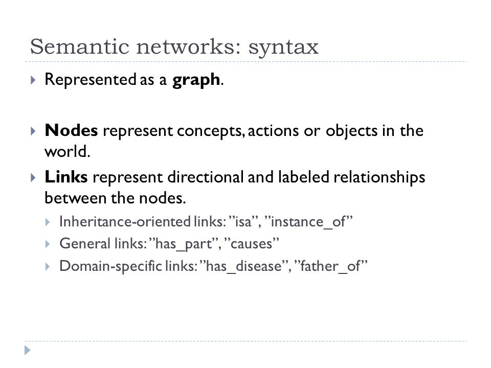 Semantic networks: syntax