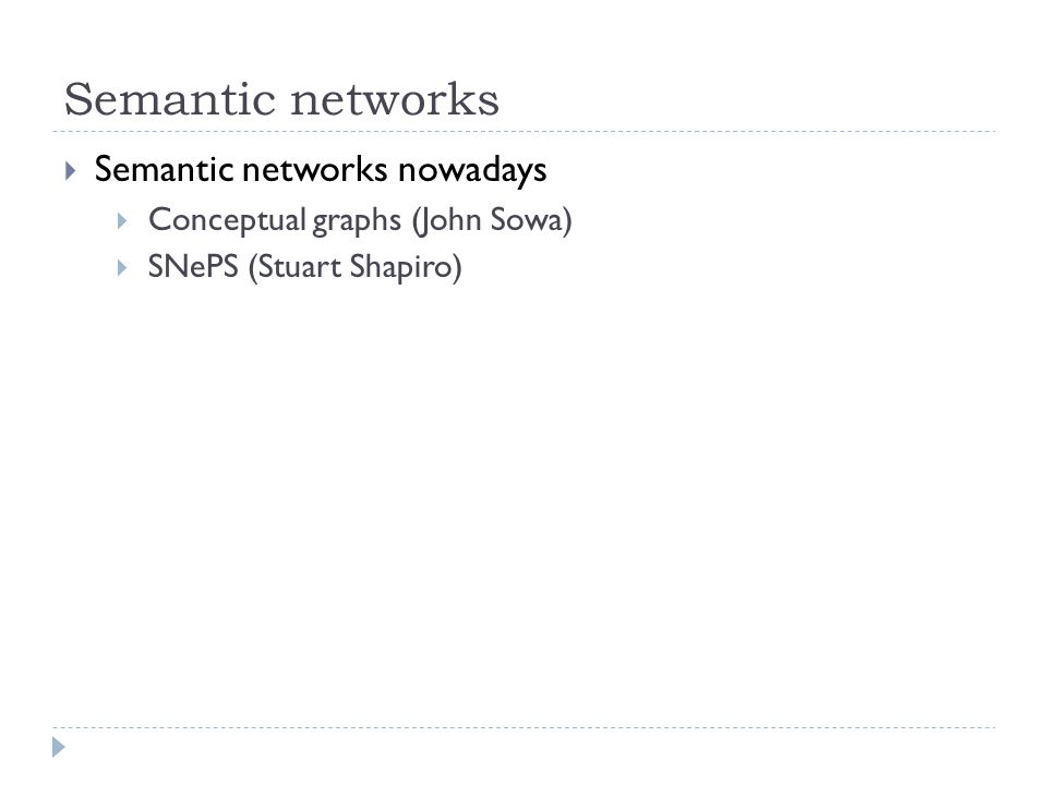 Semantic networks Semantic networks nowadays