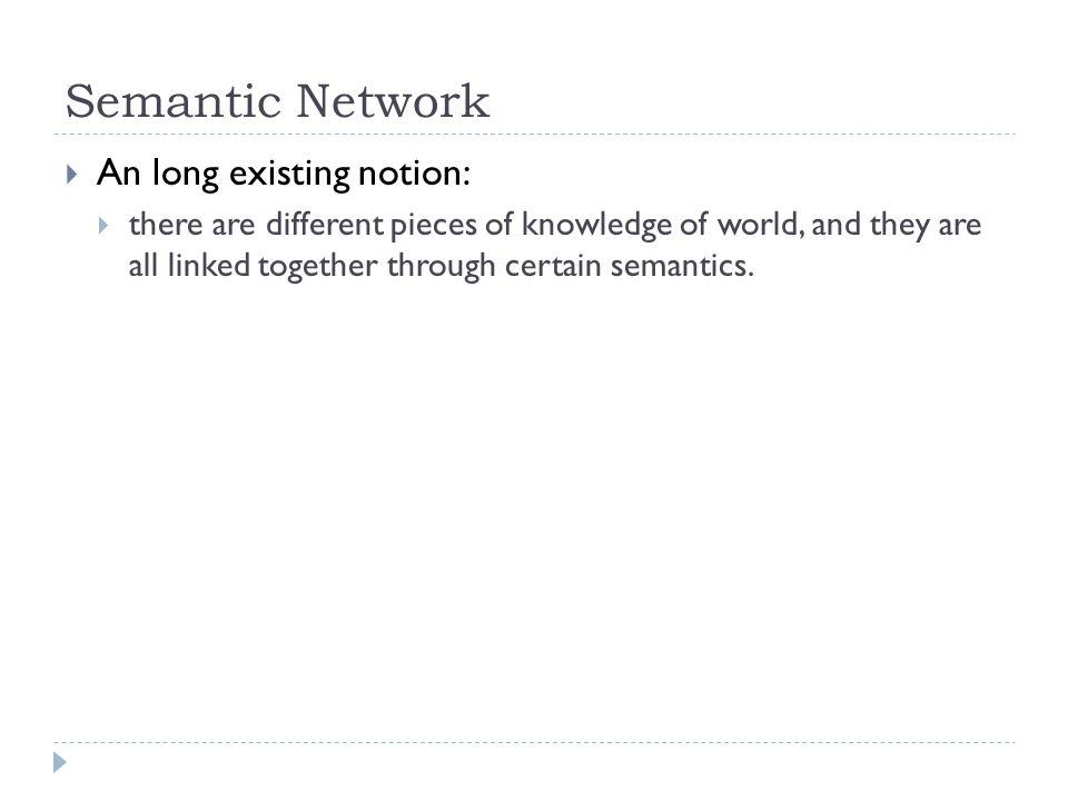 Semantic Network An long existing notion: