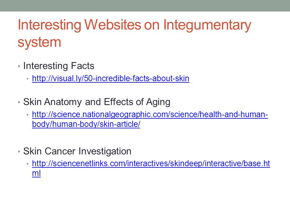 Interesting Websites on Integumentary system