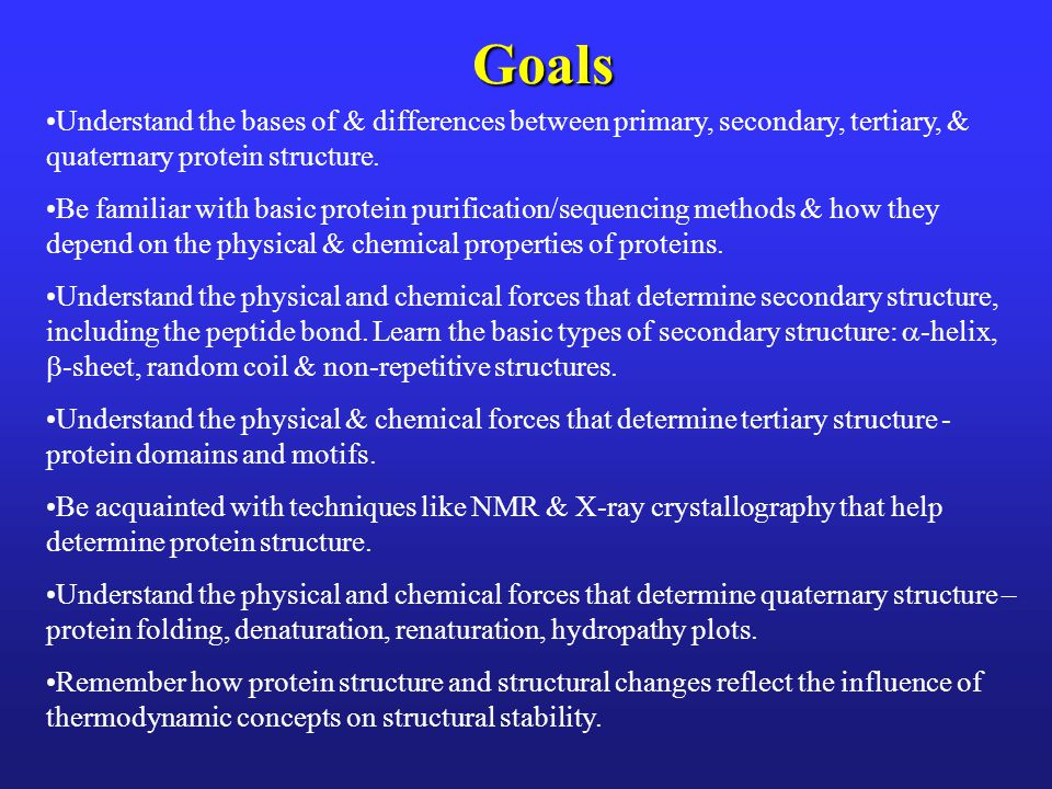 Goals Understand the bases of & differences between primary, secondary, tertiary, & quaternary protein structure.