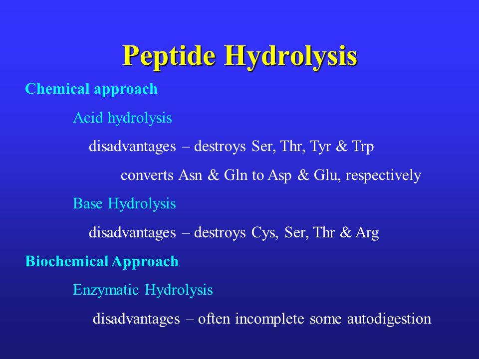 Peptide Hydrolysis Chemical approach Acid hydrolysis