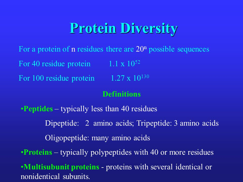 Protein Diversity For a protein of n residues there are 20n possible sequences. For 40 residue protein 1.1 x 1052.