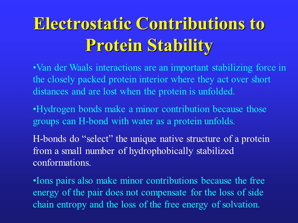 Electrostatic Contributions to Protein Stability
