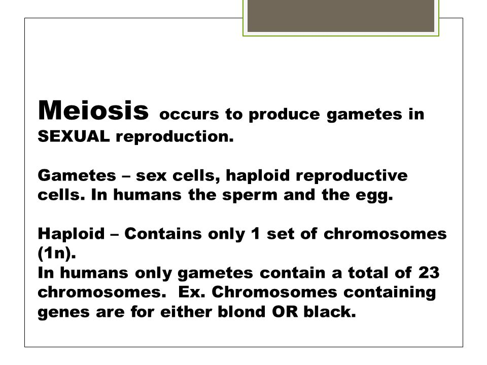 Meiosis occurs to produce gametes in SEXUAL reproduction.