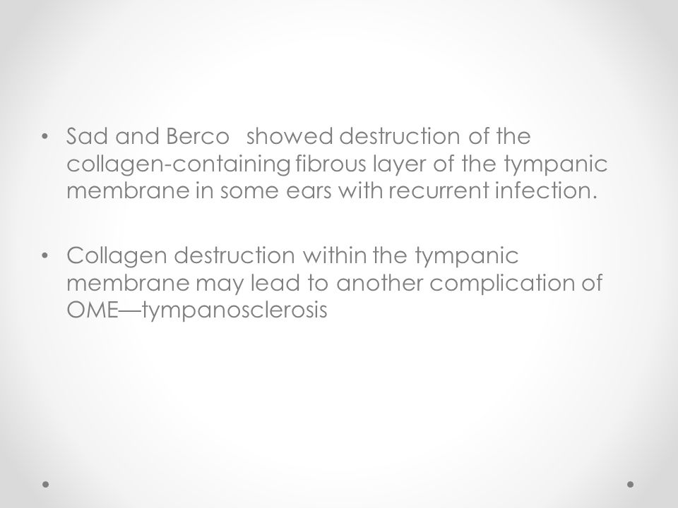 Sad and Berco showed destruction of the collagen-containing fibrous layer of the tympanic membrane in some ears with recurrent infection.
