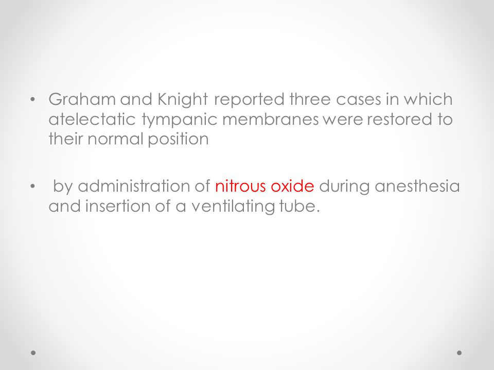 Graham and Knight reported three cases in which atelectatic tympanic membranes were restored to their normal position