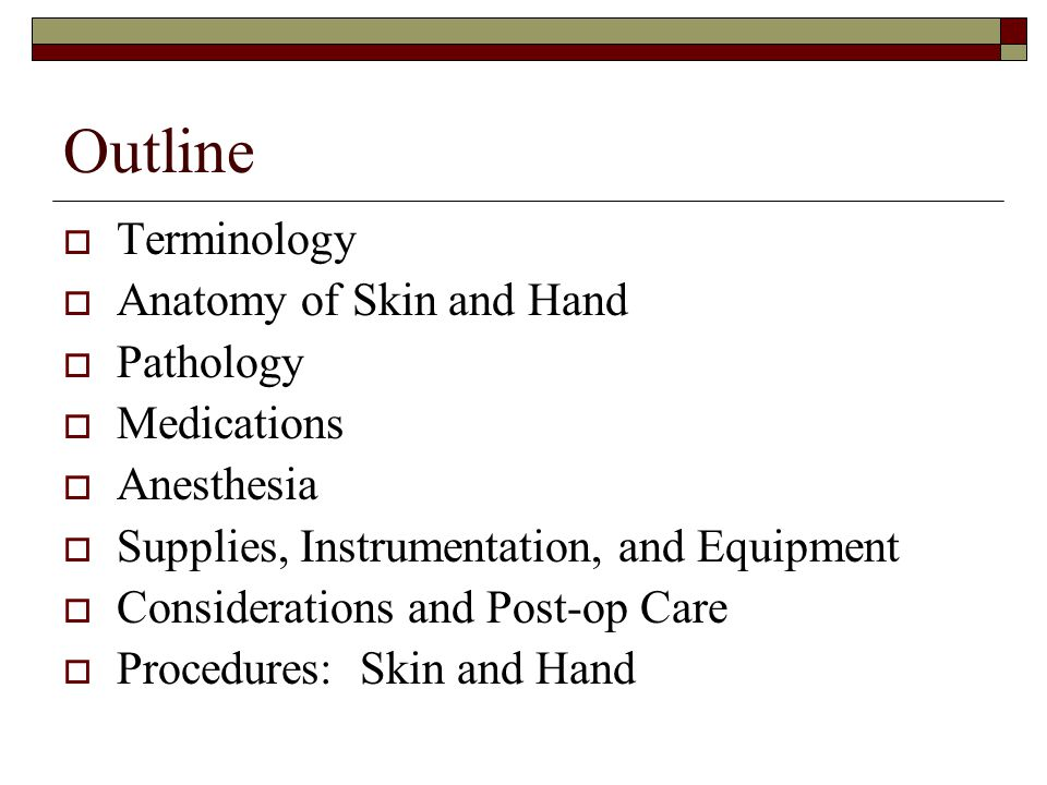 Outline Terminology Anatomy of Skin and Hand Pathology Medications