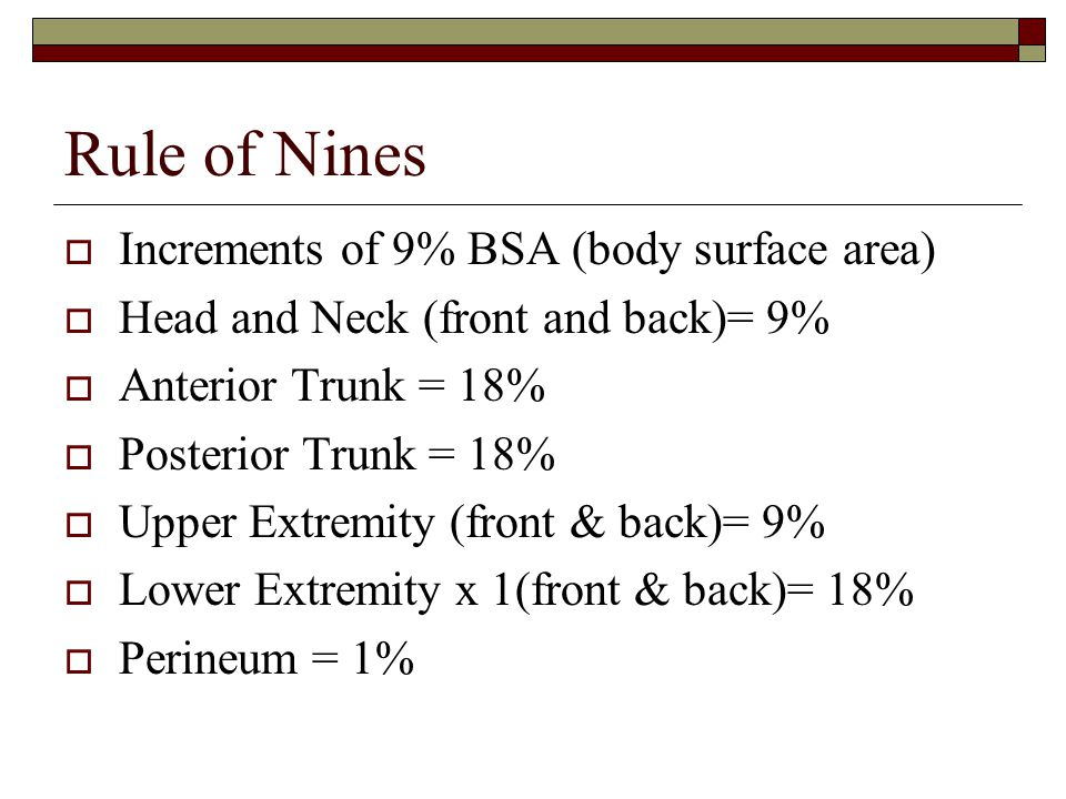 Rule of Nines Increments of 9% BSA (body surface area)