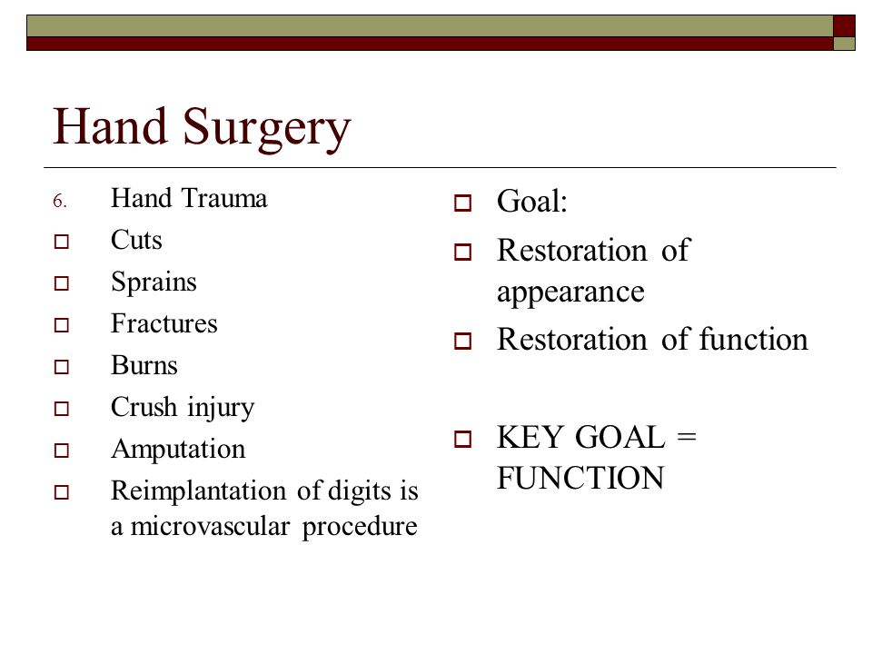 Hand Surgery Goal: Restoration of appearance Restoration of function