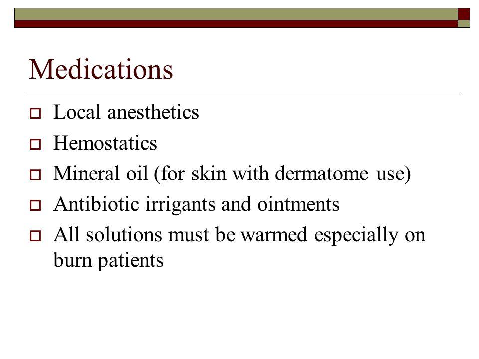 Medications Local anesthetics Hemostatics