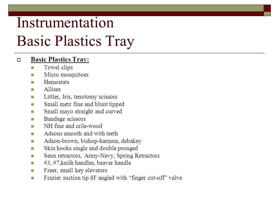Instrumentation Basic Plastics Tray
