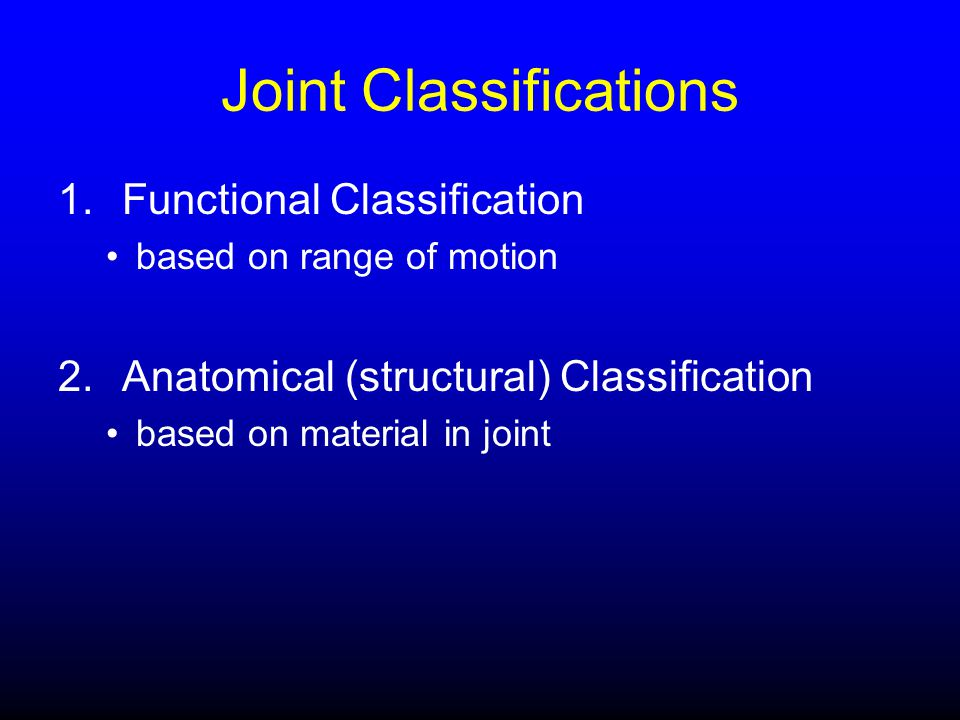 Joint Classifications