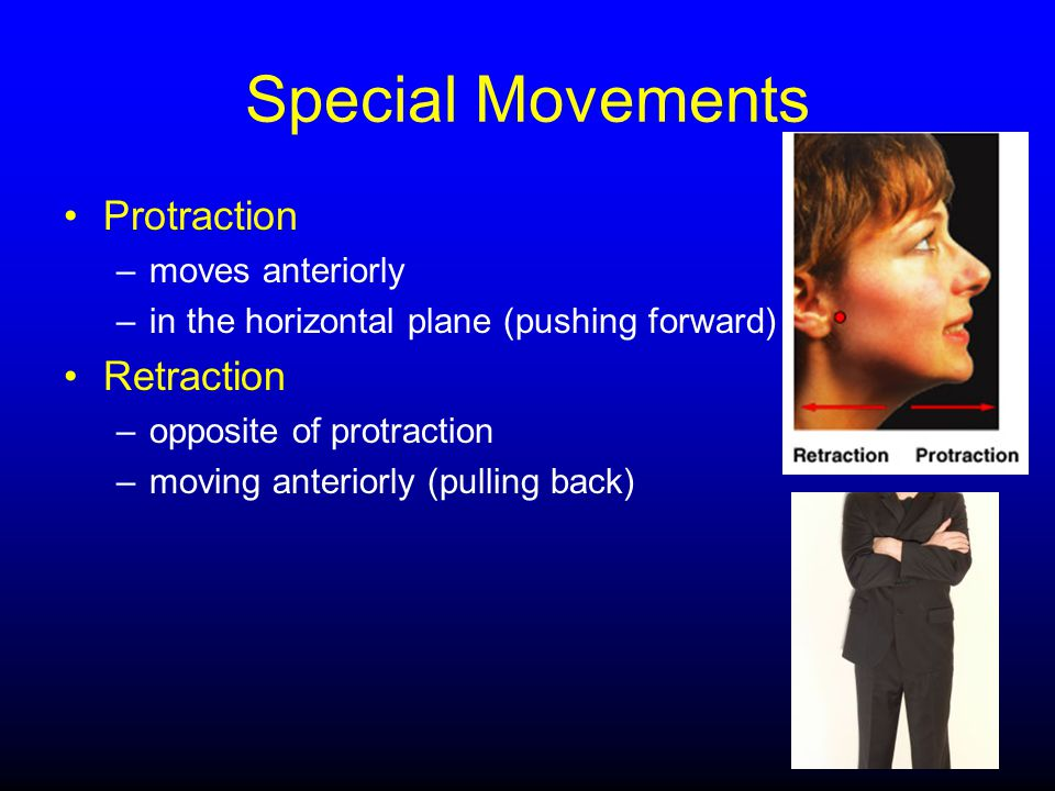 Special Movements Protraction Retraction moves anteriorly